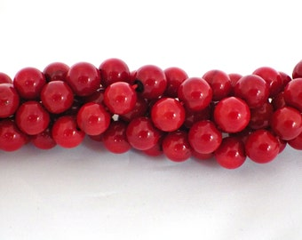 3mm Natural Red Coral Round Beads