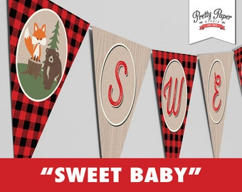 Sweet Baby Banner -Buffalo Plaid Woodland Baby Shower // INSTANT DOWNLOAD // Lumberjack // Fox Bear Moose Decoration // Printable BS05