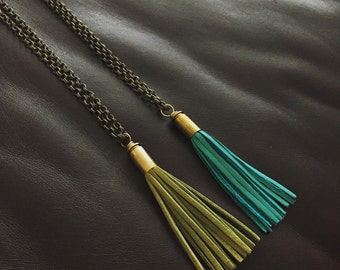Bullet casing and fringe necklace!