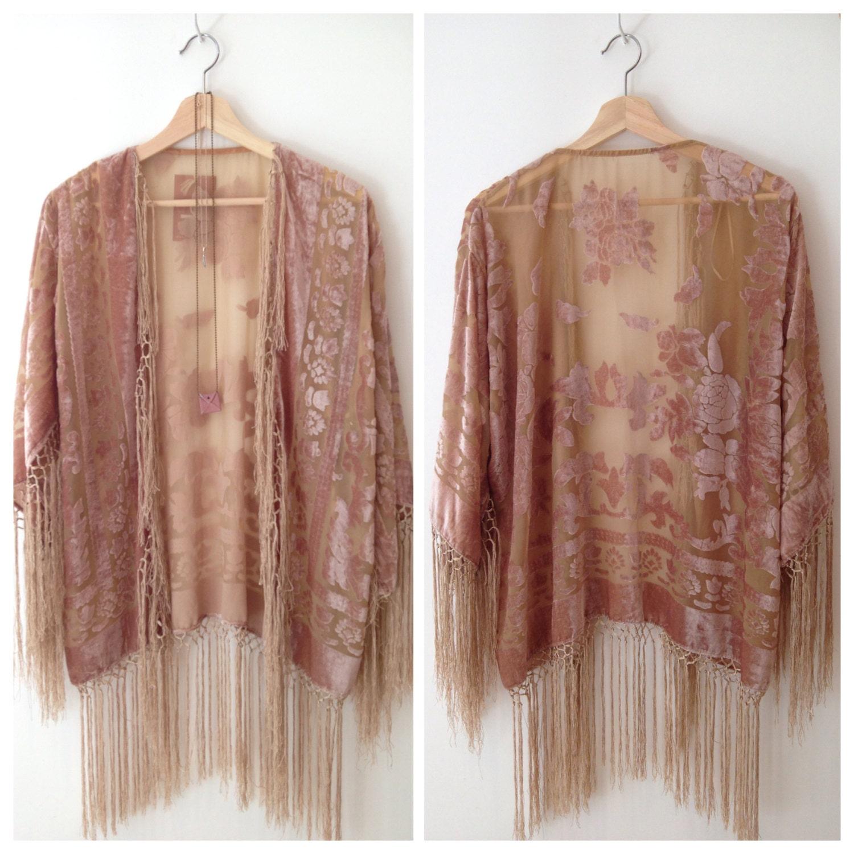 30% OFF Silk Burnout Kimono Women Boho Kimono Gypsy Fringe