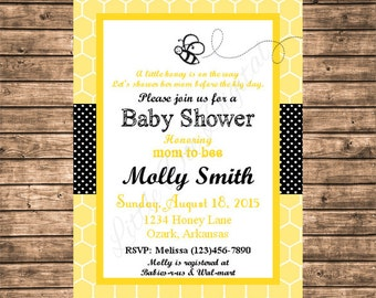 Personalized Honey Bee Black and Yellow Baby Shower Invitation - Printable Digital File