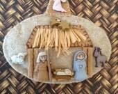 Nativity Felt Ornament / Christmas Felt Nativity Set / Handmade and Design in Felt - buttons and Raffia material
