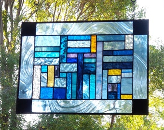 Black Blue Blue Stained Glass Meditation Panel