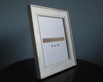 White 8 x 10 Picture Frame - Solid Pine - Handmade - Hand Painted and Aged