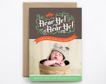 Boy Birth Announcement - Hear Ye! Hear Ye! in Charcoal Gray & Fern Green