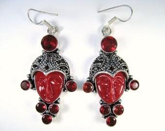 10.60 ctw Garnet & Carved Bali Moon Goddess Ox Bone Earrings - 925 Sterling Silver