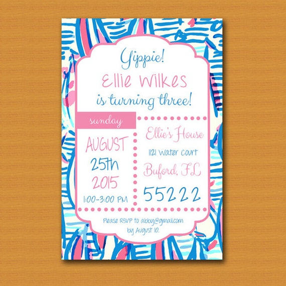 Lilly Pulitzer Wedding: Lilly Pulitzer Inspired Invitation Graduation Party Bridal