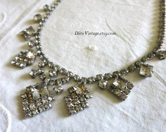 Vintage Art Deco Rhinestone Necklace, Bridal Necklace, Wedding Necklace, Princess Necklace