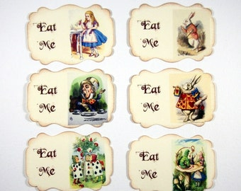 Eat Me, Alice in Wonderland, Cupcake Toppers, Stickers, Tags, Set of 6 or 12