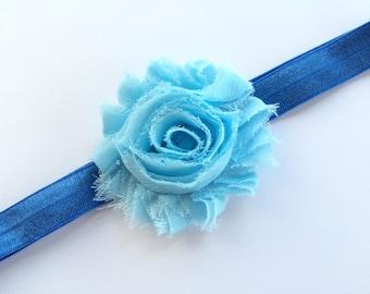 Girls Headband in Royal Blue - Light Blue Flower Headband - Shabby Flower Head Band for Girls -Blue Headband -Baby Headband Photo Prop