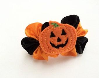 Jack O Lantern Barrette for Girls - Halloween Barrette - Pumpkin Hair Clip Barrette - French Barrette for Halloween -Girls Fall Fashion Clip