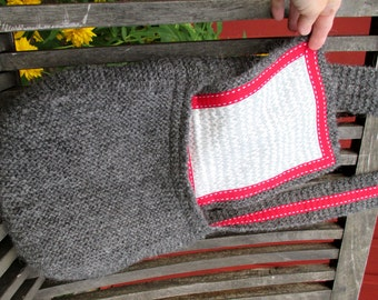 Good old purse, Gotland wool yarn, lined including decorative ribbon, knitted in local rustique wool yarn, Made in Sweden