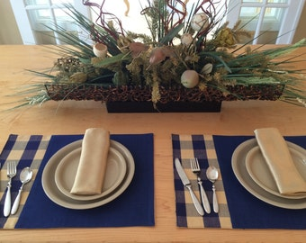 Blue and Tan Check Placemats, Set of 2