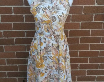 Vintage cotton sun dress printed leaves 1960's