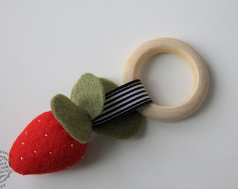 Strawberry Wood Teething Ring, Strawberry Rattle