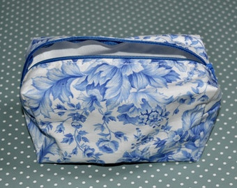 Classic Blue Floral Print Zip Pouch/ Make-Up Bag