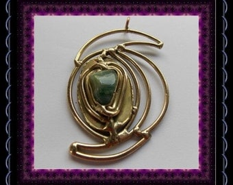 CLEARANCE..!! Large  Vintage Abstract Goldtone &  Agate Pendant