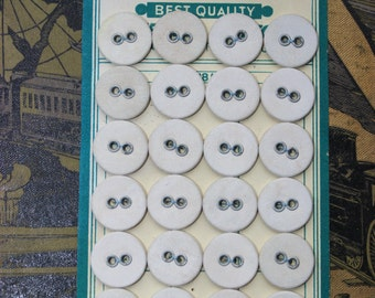 Vintage old stock linen buttons on card 24pcs 15mm WINSO