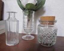 Set of 3 Antique Glass Jars Bud Vases Mismatched Vintage Cut Etched Bottle w/ CORK Top Rustic Farmhouse Kitchen Cottage Spice CONDIMENT Jam