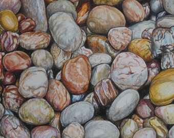 Limited edition colour print of Beach Pebbles