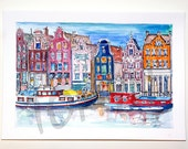 Amsterdam. Beautiful colored houses. Netherlands. Original watercolor painting.