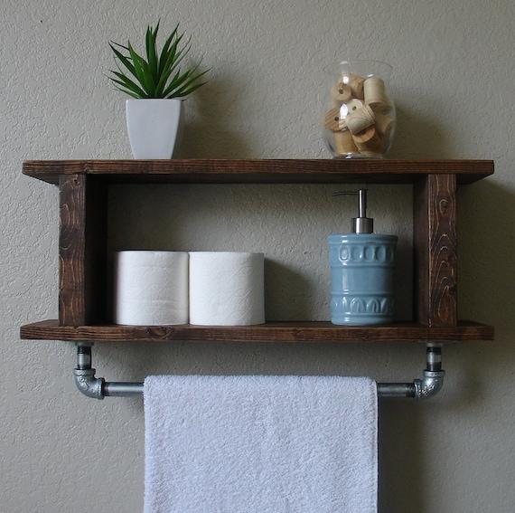 Industrial Rustic 2 Tier Bathroom Shelf With 18 Towel By Keodecor