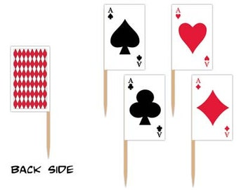 50 Casino Card suit Flag Picks for CUPCAKE toppers cakes, decorations and more birthday party favors parties poker party monte carlo night