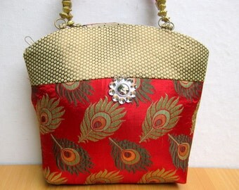 Handbag /colorful bag / purse /fabric bag/ wristlet/ embroidered bag/ party bag/ red bag/  gift item.