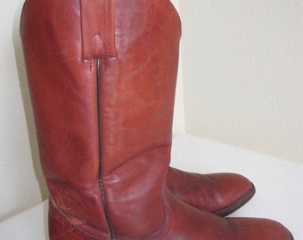 Vintage 'Frye' Leather Cowboy Boots Made In USA - UK Size 10