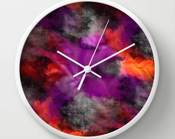 "Abstract Wall Clock Purple Orange Black Grey Red Watercolor print 10"" Clock Abstract Art Modern Home Decor White Black Natural"