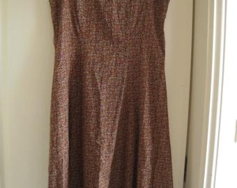 Vintage Multicolored Cotton Floral Jumper Dress M
