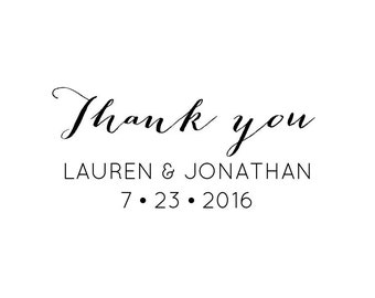 Thank You Stamp, personalised names and date, wedding favours, gift tags, wedding stationery, (cts101)