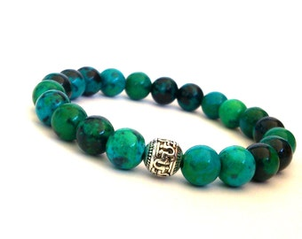 Beaded Bracelet/ Gemstone Stretch Bracelet/ Turquoise Chryscolla Beads Bracelet