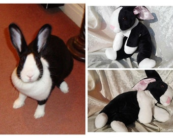 DUTCH Bunny plush, black and white rabbit toy, stuffed animal dutch rabbit, rabbit breeds individual markings MADE to ORDER from photo ooak