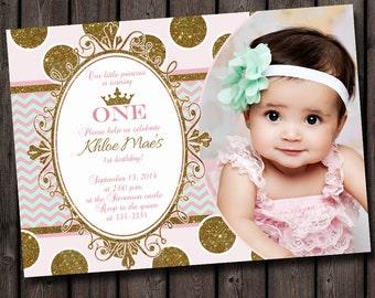 first birthday invitation, pink and gold, mint chevron modern princess invitation, royal birthday invitation, polk a dots, princess invite