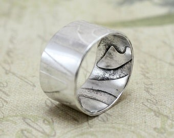 Sterling Silver Wide Band Ring - Textured Ring - Roller Printed Ring