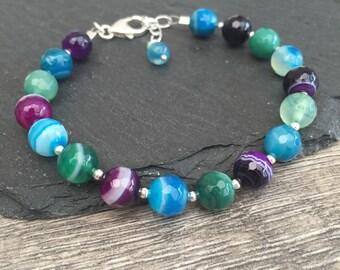 Bright agate bracelet, summer bracelet, blue, green and purple agate bracelet, gemstone bracelet, new