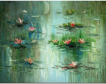 Water Lilies Oil Painting On Canvas - Hand Painted Modern Impressionist Flower Fine Art