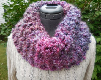 Purple Chunky cowl, circle scarf. infinity scarf, knitted cowl, winter scarf, trending winter accessories,scarves,gift for her, popular item
