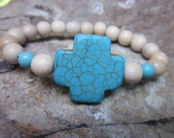 cross bracelet Bohemian bracelet wood beaded bracelet turquoise jewelry mens cross bracelet women's bracelet stretch stackable bracelet