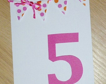 Girls 5th Birthday card - OR ANY AGE - pink and orange spots - handmade card