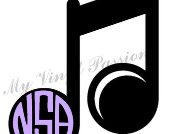 Monogrammed Music Car Decal; Personalized Music Car Decal; Music Car Decal; Music Decal;  Music Note Decal; Monogrammed Decal