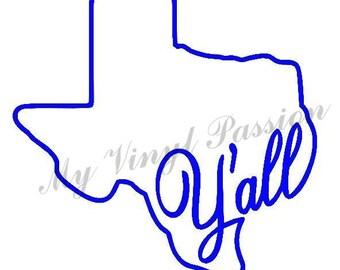 Texas Car Decal; Y'all Car Decal; Texas Y'all Car Decal; Texas Decal; Y'all decal