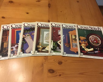 Cross Stitch & Country Crafts Magazines, Lot of 7, 1980s