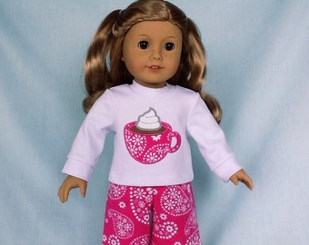 Hot Chocolate Pajamas and Optional Slippers for American Girl/18 Inch Doll