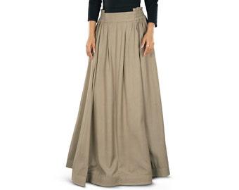 Adilah Khaki Rayon Long Skirt AS014 Islamic Formal, Daily & Casual Wear Made In Soft Rayon Fabric