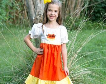 Personalized Candy Corn Halloween Ruffle Dress  - Trick or Treat - Party - Theme - Fall - Festivities - Girls - School - Fall