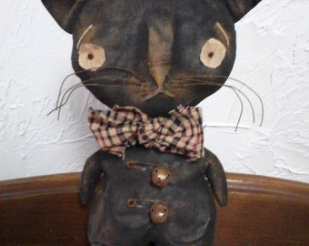Primitive Folk Art Standing Cat Doll and Crow