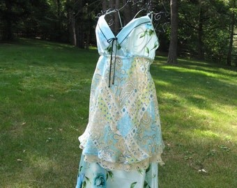 WAS 158.00 NOW 68.00 Art to Wear Gypsy Fairy Boho Romantic Shabby Chic Upcycled Slip Dress for Bridesmaid or Nice Occasion
