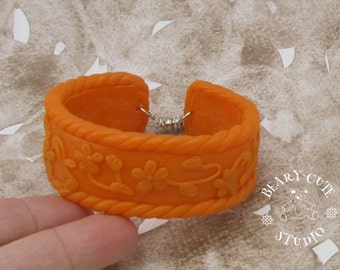 Cuff bracelet, orange cuff bracelet, polymer clay cuff bracelet